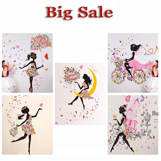 product Free shipping wall sticker home decor butterfly sticker Bicycle and lovely girs sticker for home decor  For Kids Rooms