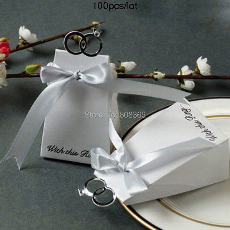 Free shipping 100PCS/LOT With this ring wedding favor boxes with diamond For candy box the same as our real product photo shows(China (Mainland))