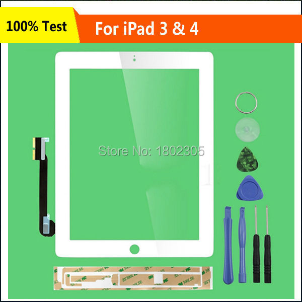 White Touch Screen Digitizer Front Glass Replacement Part+Tools Complete Assembly For iPad 3 For iPad 4 A1458 A1459 A1460(China (Mainland))