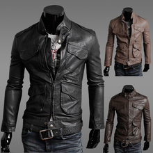 2016 men's autumn clothing male slim motorcycle mens leather jackets and coats leather clothing outerwear(China (Mainland))