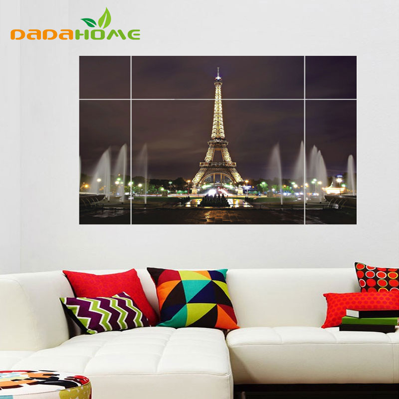 3d large eiffel tower jigsaw wall sticker bedroom living for Stickers 3d pared