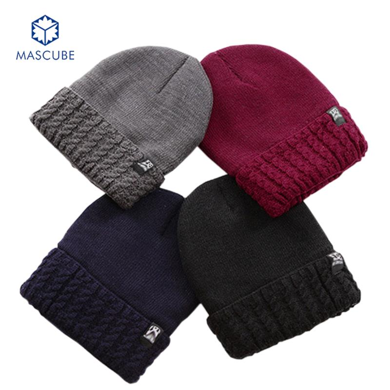 Beanie Knitted Men's Autumn And Winter Thick Wool Ski Cap Solid Color Knit Velvet Caps Head Cotton Hats Free Shipping bonnet(China (Mainland))
