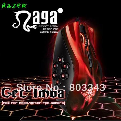 Original Razer Naga Hex Red Edition, 5600dpi Razer Precision 3.5G Laser Sensor, Oriignal & Brand new in BOX, Free shipping(China (Mainland))