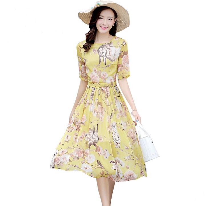 Women Dress 2015 Summer Clothes For Women Bohemian Style Fashion Elegant Floral Print Short Sleeve Long Chiffon Dress Plus Size(China (Mainland))