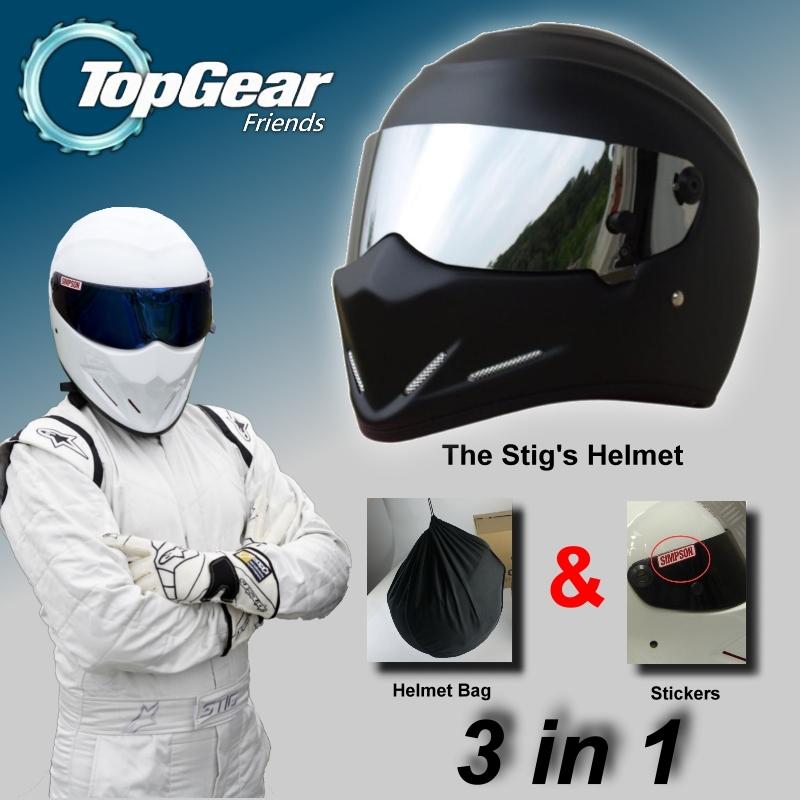 For TopGear The STIG Matte Black Helmet with Silver Visor Capacete Casco De / Bag+ SIMPSON Sticker For Gifts Moto Helmet(China (Mainland))