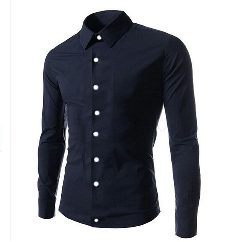 Mens Black Shirt With White Buttons