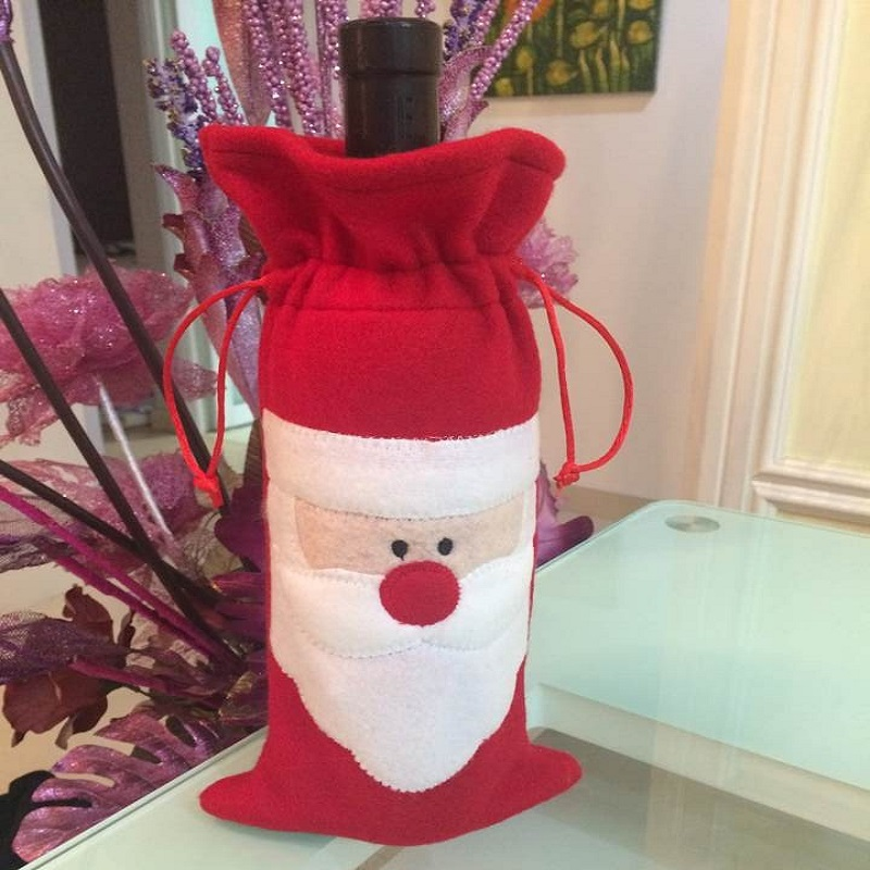 christmas products item Santa Clause bag used as wine bag gifts for xmas dinner new year christmas decorations ornaments(China (Mainland))