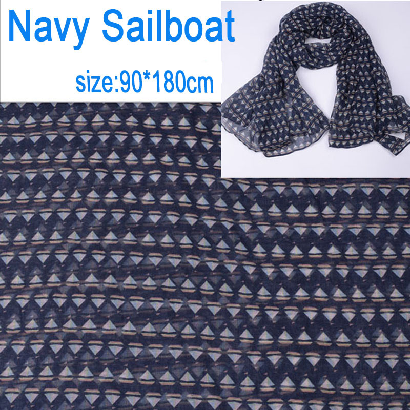 2015 Fashion Cute small Sailboat scarf unique design navy color polyester voile scarves women oversize winter scarfs 90*180cm(China (Mainland))