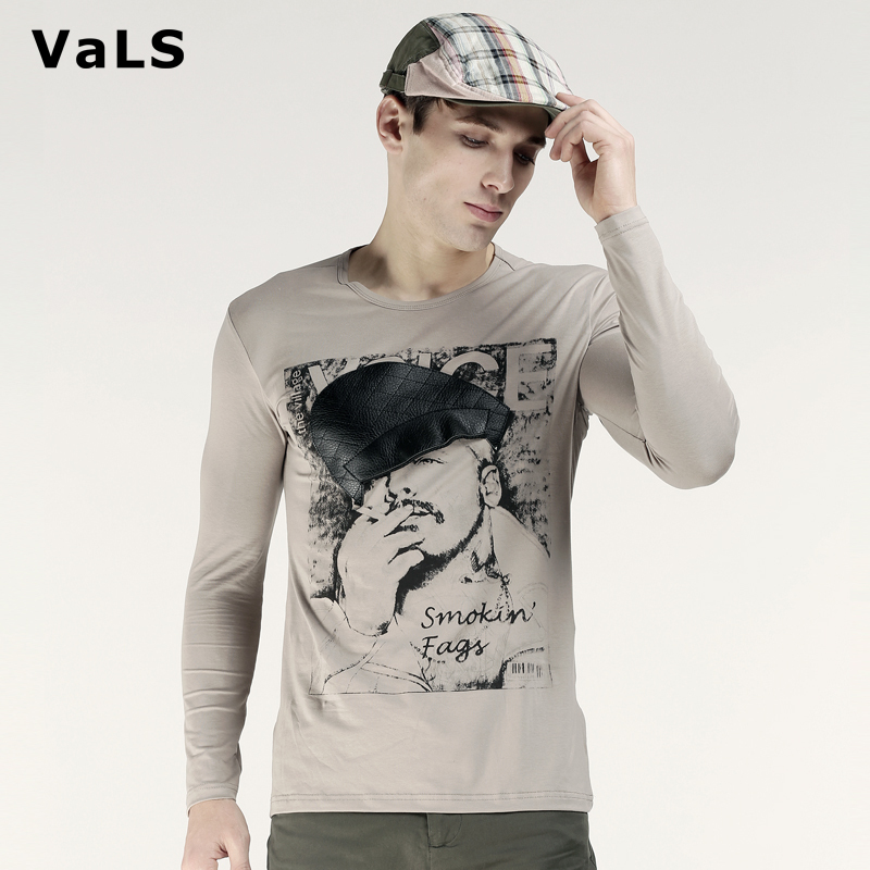 2014 Spring Autumn Men's Long Sleeve T Shirt, Casual Fashion Slim Fit Tee Shirt Men Leather Hat Printed, Big Size XXXL - VaLS Apparel Monopoly store