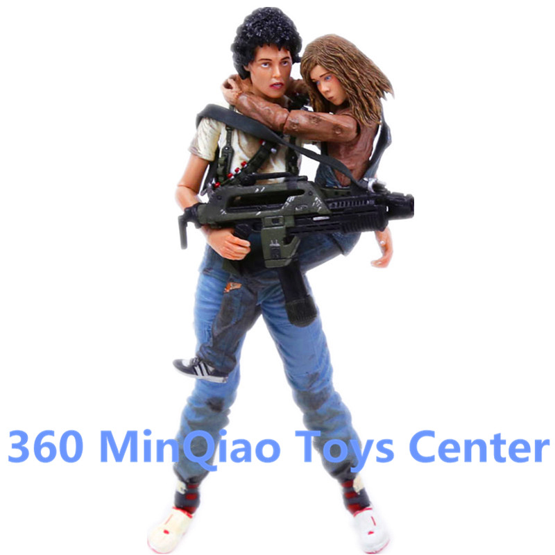 """NECA Alien 2 This time it's war Ellen Ripley & Newt 30th Anniversary PVC Action Figure Collectible Model Toy 2-pack 7""""18cm WU914(China (Mainland))"""