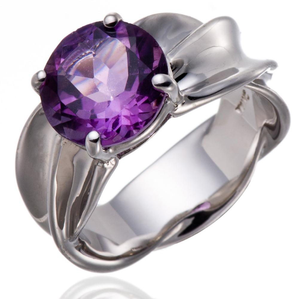 Здесь можно купить  2.95 CT Natural Purple Amethyst Gemstone Solid 925 Sterling Silver Solitaire Ring Women Jewellry  Ювелирные изделия и часы