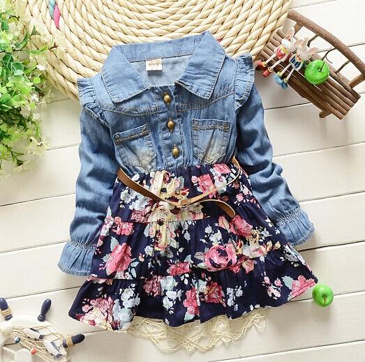 New spring 2015 Girls cowboy dress 100% cotton dress babi Girls autumn dress kids girls dress.(China (Mainland))