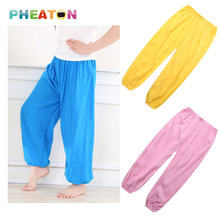 Breathable Girls Pants Soft Harem Pants Kids Silk Cotton Bloomers Boys Pants Colorful Chidren Trousers(China (Mainland))