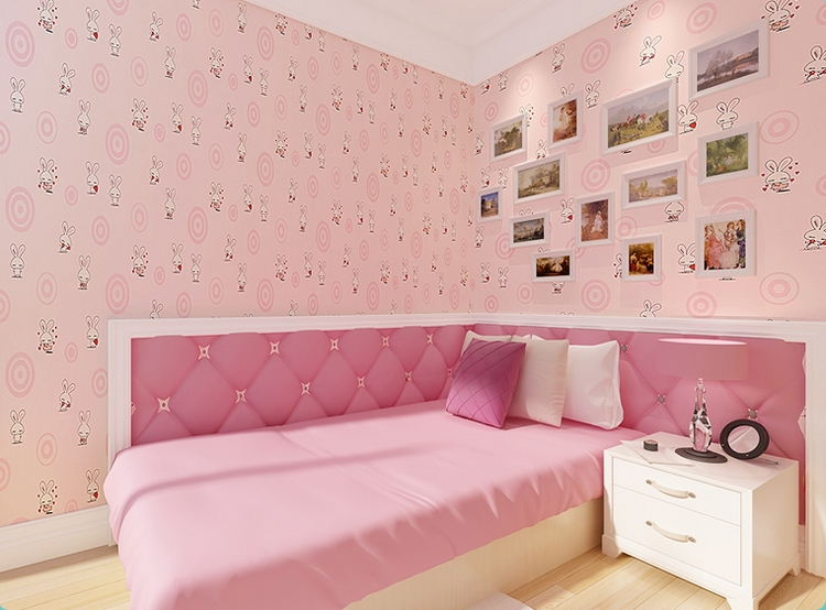 Sweet pink color white rabit wallpaper for girls room kids for Pink and white wallpaper for a bedroom