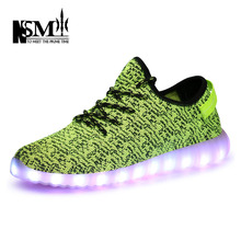 Fashion White Black RED Flat LED Casual Shoes 2015 New High-top Plus Size Led Shoes Women and Men 7 colors Light Shoes NSM-W519(China (Mainland))