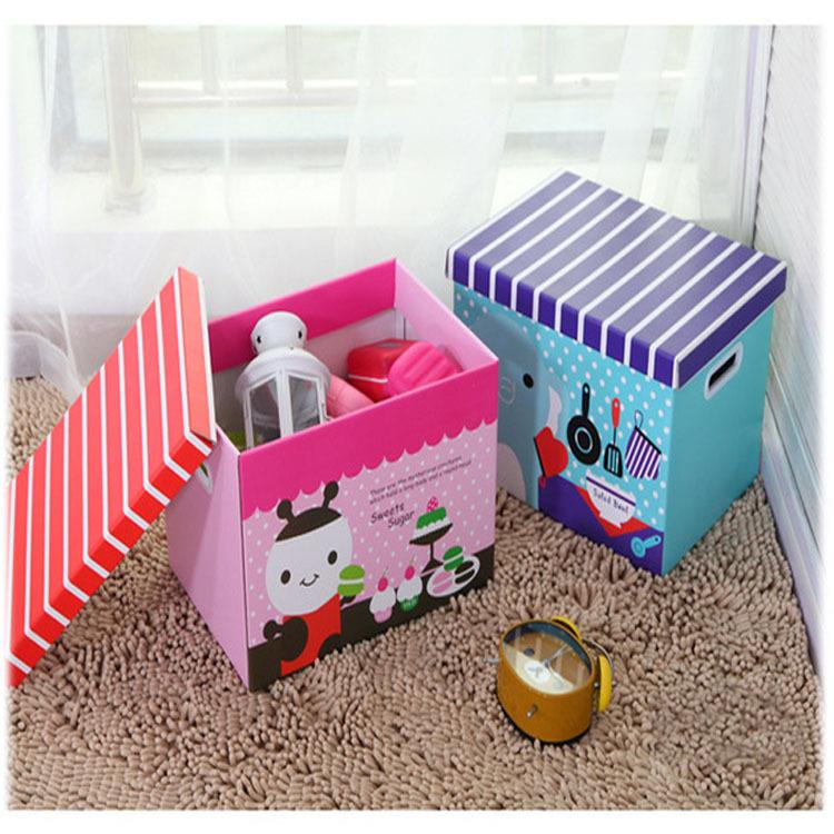 Kids Children Eco-friendly Folding Storage Toy Box Clothes Key Underwear Organizer Baby Cute Colorful Storage Bins of Toys(China (Mainland))