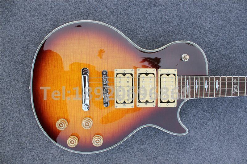 New arrive Vintage Sunburst Tiger Flame Top, One piece Neck, LP Ace Frehley Electric guitar(China (Mainland))
