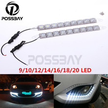 POSSBAY Universal 1Pair 9/10/12/14/16/18/20 LED Flexible Variety Snake Car Daytime Running Light DRL Driving Fog Warning Lamp(China (Mainland))