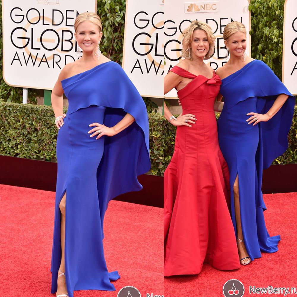 Nancy O'Dell Golden Globe 2015 Celebrity Dresses One Shoulder Mermaid Side Slit Royal Blue Red Carpet Dresses Evening Gowns
