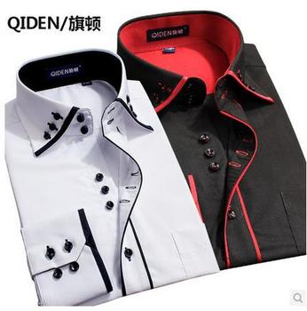 2015 с длинными рукавами Большой размер мужчины мужской деловой двойной воротник свободного покроя рубашка осень зима мужчины camisa masculina