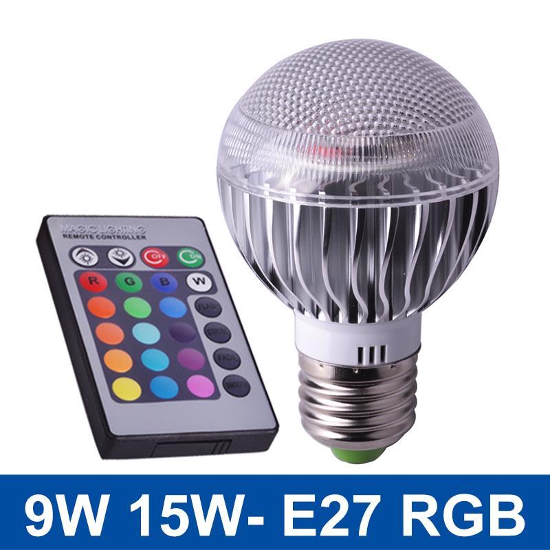 Wholesale RGB LED Light E27 9W 15W Lampada LED RGB Lamp Bulb 16 Color Changeable With Remote Control AC 110V 220V 50pcs/lot<br><br>Aliexpress