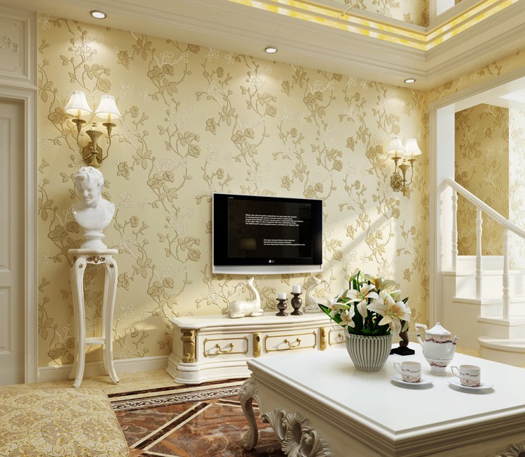 Modern 3d mural embossed flowers designer tv background for Home decor wall papers