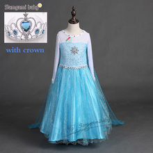 Buy Summer Girl Princess Elsa Dress crown Children Halloween Snow Queen Cosplay Costume Baby Toddler Kids girls party Clothes for $9.37 in AliExpress store