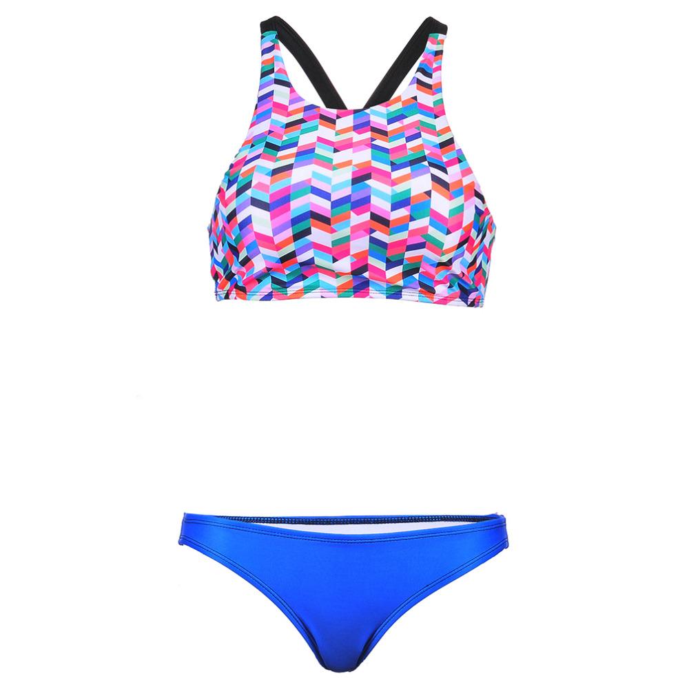 2016 Summer Swimwear Bikini Fashion Colourful Plaid Digital Print High Neck Galaxy Star Bikinis Set Top+Bottom Drop shipping(China (Mainland))