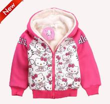 Hot sale children hello kitty hoodies kids girl sweatshirts cartoon clothing long sleeve thick fleece kids zipper outerwear coat(China (Mainland))