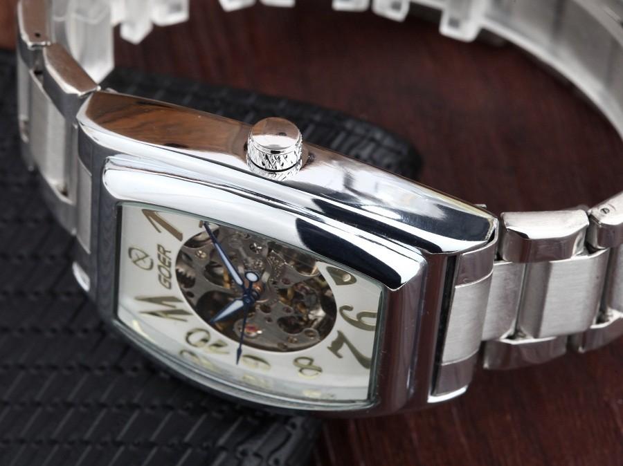 GOER бренд мужской цифровые часы механическая Автоматическая Площадь Шторка Мужской нержавеющей стали водонепроницаемый Движение Скелет Световой