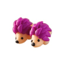 New Fashion Colourful Handmade Polymer Cute Hedgehog Stud Earrings For Women Girl Animal KittenUp Jewelry(China (Mainland))