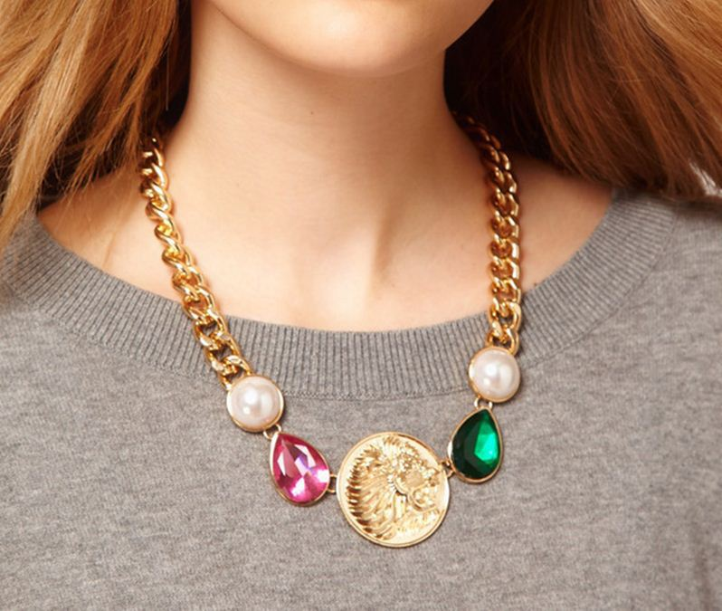 Fashion lion head gold color chain necklace link acrylic simulated pearl emerald pendant necklace celebrity casual party(China (Mainland))