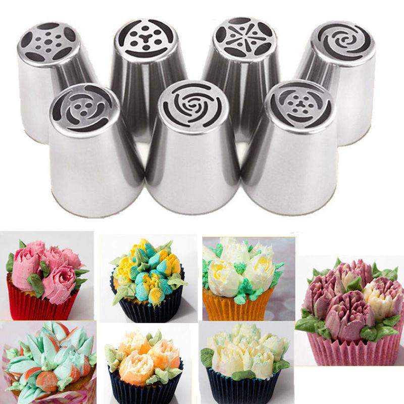 NEW 7PC Russian DIY Pastry Cake Icing Piping Decorating Nozzles Tips Baking Tool Cupcakes Rose(China (Mainland))