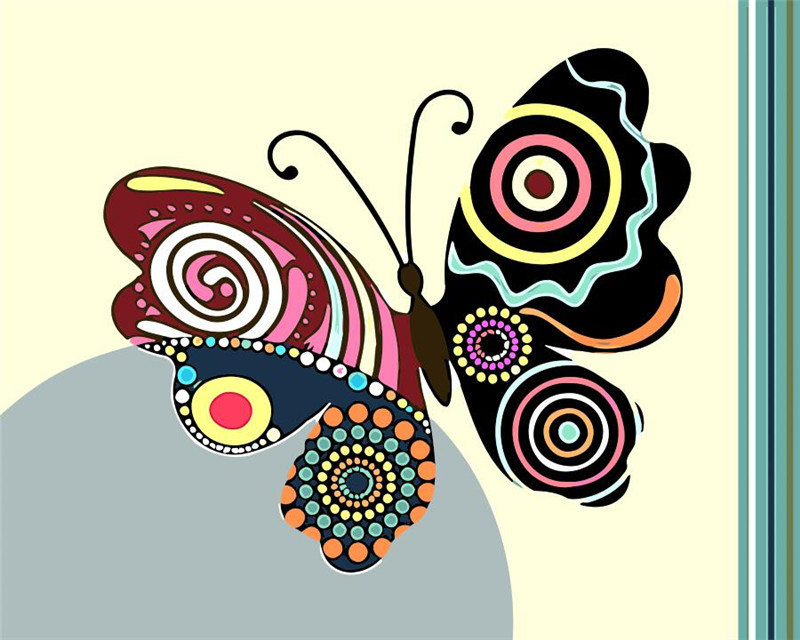 Popular butterflies drawings buy cheap butterflies for What kind of paint to use on kitchen cabinets for animal print canvas wall art