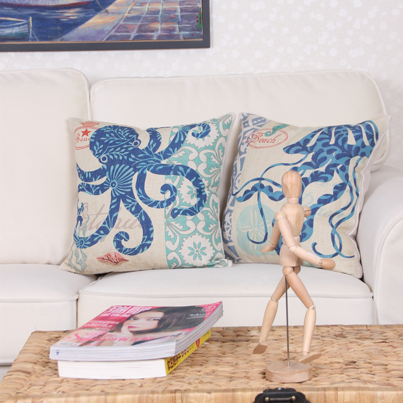 fashion 18u0026quot square cushion cover sea biology seamaster conch coral pillow covers linen cotton cushions