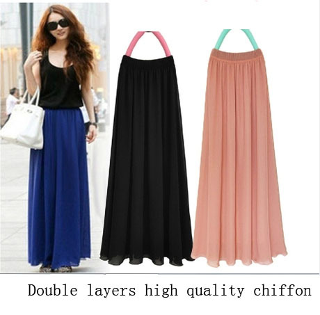 Free Shipping High Quality Women 2016 Summer Fashion Chiffon Pleated Long Maxi Skirt Full Floor Length Candy Color Cheap WST1514(China (Mainland))