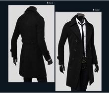 European and American men's long double-breasted woolen Overcoat male coat autumn and winter men's woolen coat jacket #651958(China (Mainland))