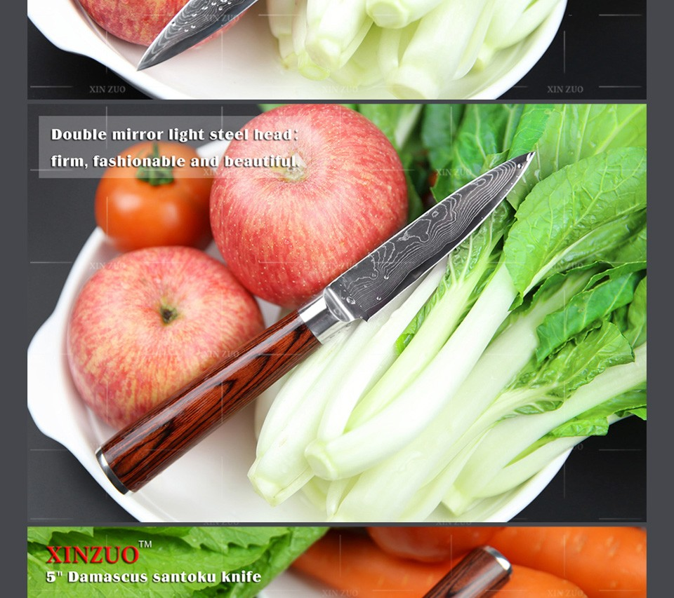 Buy XINZUO 5 pcs Kitchen knife set Japanese 73 layers Damascus kitchen knife cleaver chef utility knife wood handle free shipping cheap