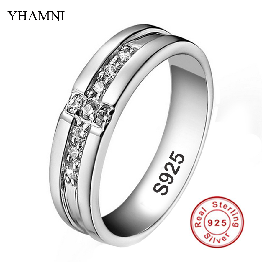 Real Pure Silver Cross Rings Set CZ Diamond Engagement Rings for Lovers Couple 925 Silver Wedding Rings For Women and Men AR11(China (Mainland))