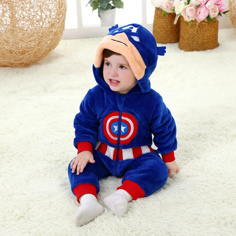 Spring and autumn baby boy clothes spiderman Captain America baby boy rompers Red Blue newborn clothes bodysuit one piece bebe (4)