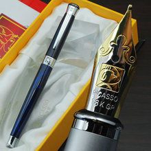 Free shipping wholesale school office supplies pen Picasso Luxury blue & silver M nib fountain pen high quality writing pen(China (Mainland))