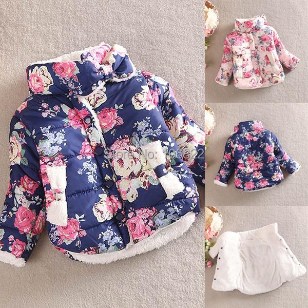 WholesaleWarm Princess Girls Floral Thick Outerwear Long Sleeve Jacket Cotton CoatFreeShipping