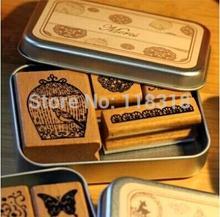 (6 Styles can choose) DIY Scrapbooking Bookmarks Vintage Kawaii Stamps Wooden Rubber Ink Pad Stamp Iron Box Set papelaria(China (Mainland))