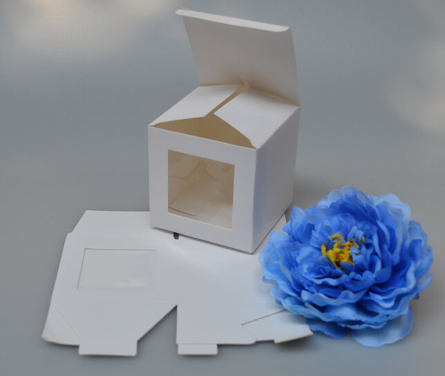 Size:7*7*7CM, white paper sweet candy box with window DIY Wedding Candy Boxes with PVC Window,Treat box,Birthday Gift Box(China (Mainland))