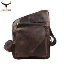 COWATHER 2017 100% top cow genuine leather versatile casual shoulder men messenger bags for men soild and zipper free shipping(China (Mainland))
