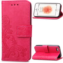 iPhone 5s Leather Case Stand Wallet 5 SE Card Holder Soft Silicone Phone Cover 5c Coque - Sky Mobile store