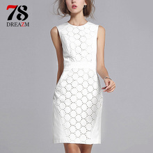 Buy Sundress Women Sexy Sleeveless summer dress Solid White Color Slim Large Size female Fashion Casual Plus Size Lace Mini Dress for $8.15 in AliExpress store