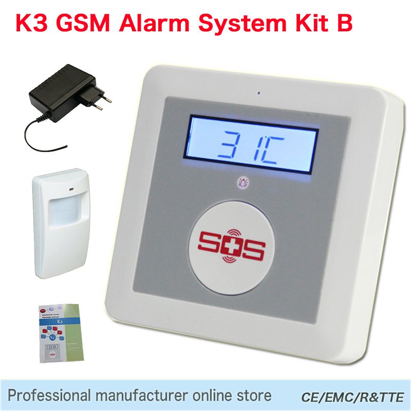 GSM Alarm System Home Alarm Kit DIY House Alarm Fire Intrusion Safety SOS Burglar Alarm K3 Package Set B(Hong Kong)