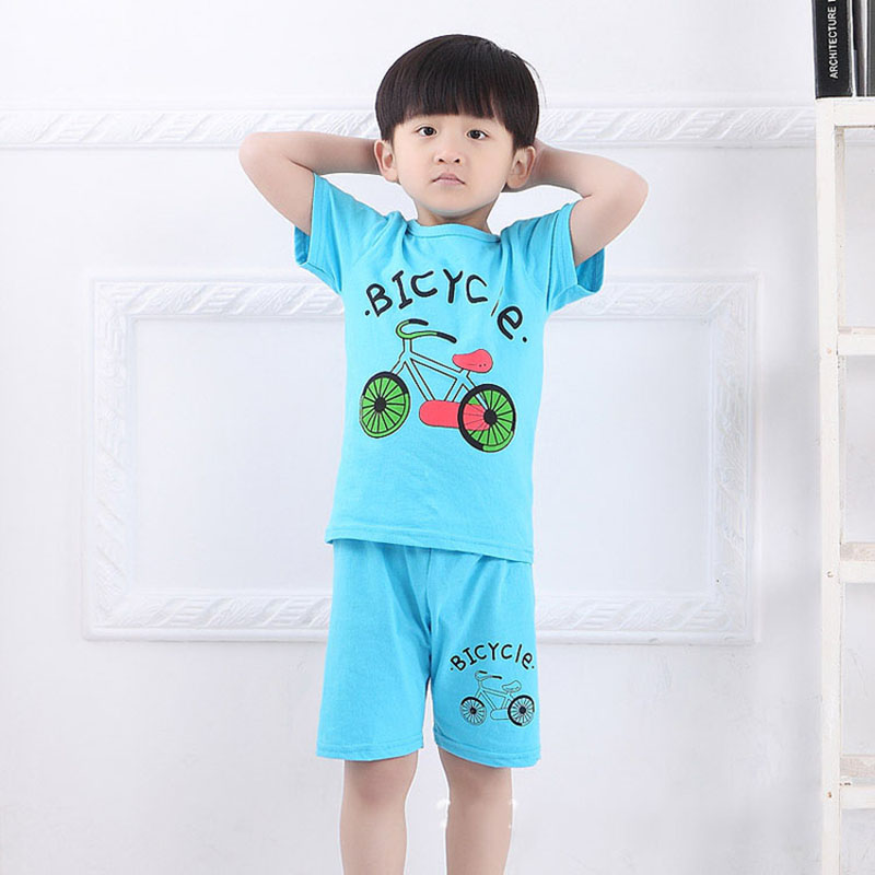 Children's summer clothing cotton child short-sleeve shorts set Kid cartoon set manufacturers bicycle racing suits wholesale(China (Mainland))