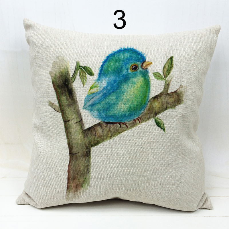 Animal series birds 3D printed cushion cover linen cotton polyester throw pillow case for home office